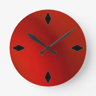 sleek retro modern red satin wall clock