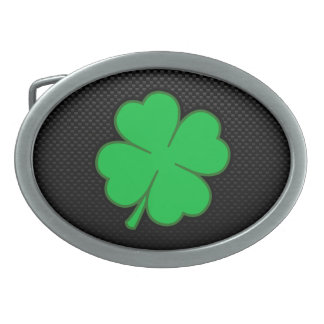 Sleek Shamrock Oval Belt Buckles