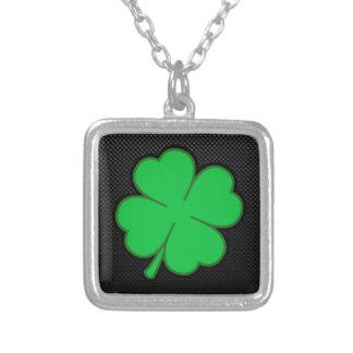 Sleek Shamrock Silver Plated Necklace