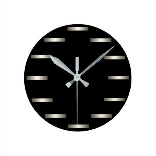 Sleek Silver Black Minimalism Urban CricketDiane Wall Clocks