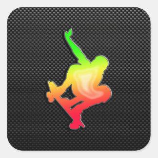 Sleek Skateboarding Square Sticker