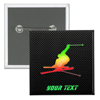 Sleek Snow Skiing 15 Cm Square Badge