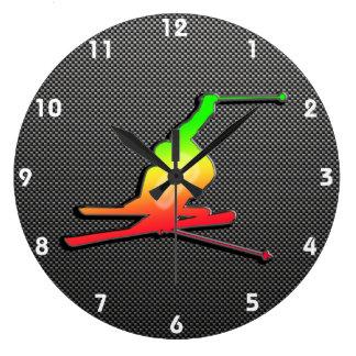 Sleek Snow Skiing Wall Clock