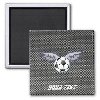 Sleek Soccer Ball Wings Square Magnet
