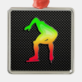 Sleek Speed Skater Silver-Colored Square Decoration