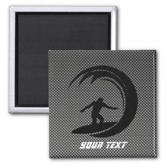 Sleek Surfing Square Magnet