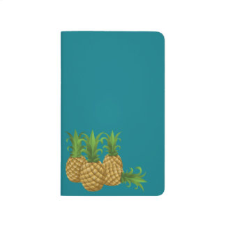 Sleek Teal Retro Vintage Pineapple Journal