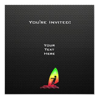 "Sleek Windsurfing 5.25"" Square Invitation Card"