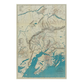Sleem's Map of Central Alaska Poster