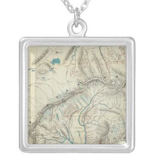 Sleem's Map of Central Alaska Silver Plated Necklace