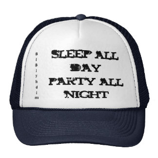 sleep all day party all night, slsjyhdlm hat