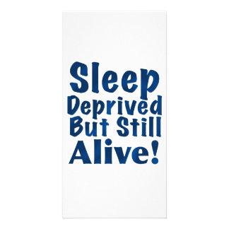 Sleep Deprived But Still Alive in Dark Blue Photo Card