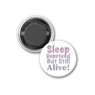 Sleep Deprived But Still Alive in Sleepy Purples 3 Cm Round Magnet