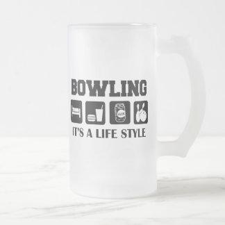 Sleep Eat Drink Beer & Bowling Frosted Glass Beer Mug