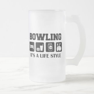 Sleep Eat Drink Beer & Bowling Frosted Glass Mug