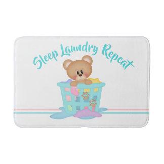Sleep Laundry Repeat Bear Funny Tshirt Bath Mat