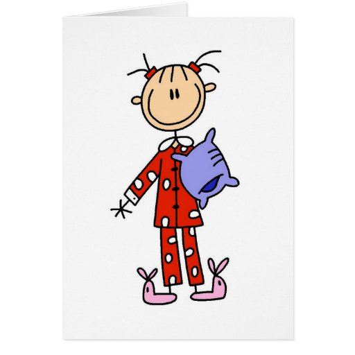 Sleep Over Girl In Her Pajamas Card
