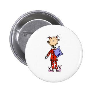 Sleep Over Girl In Her Pyjamas Button