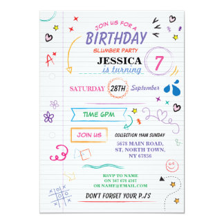 Sleep Over Slumber Birthday Party Sketch Invite
