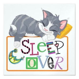 Sleep Over - Slumber Party - SRF 5.25x5.25 Square Paper Invitation Card