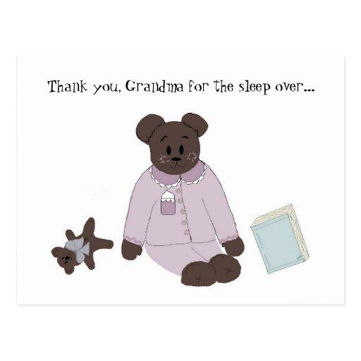 Sleep Over Thank You Post Card
