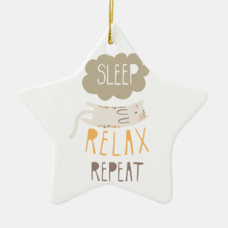 Sleep, Relax, Repeat Calico Cat Christmas Ornament
