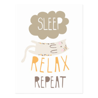 Sleep, Relax, Repeat Calico Cat Postcard