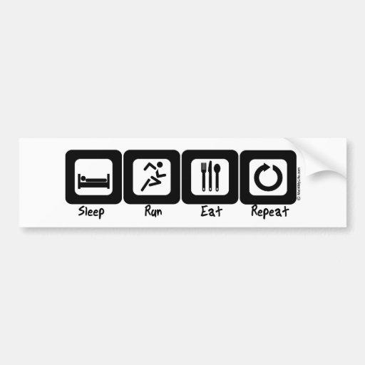 Sleep Run Eat Repeat Bumper Stickers