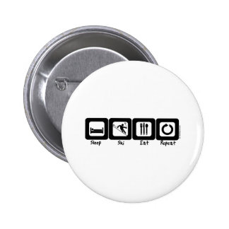 Sleep Ski Eat Repeat 6 Cm Round Badge