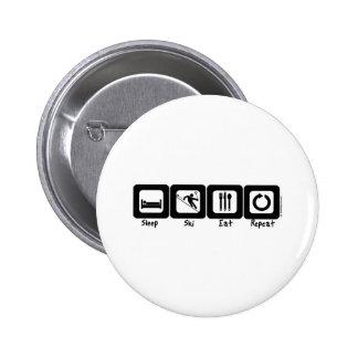 Sleep Ski Eat Repeat 6 Cm Round Badge