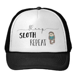 Sleep Sloth Repeat Teal Black White Trucker Hat