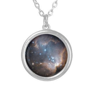 Sleeping Angel Star Cluster Silver Plated Necklace