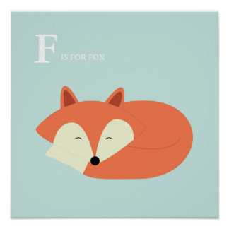 Sleeping Baby Fox Poster