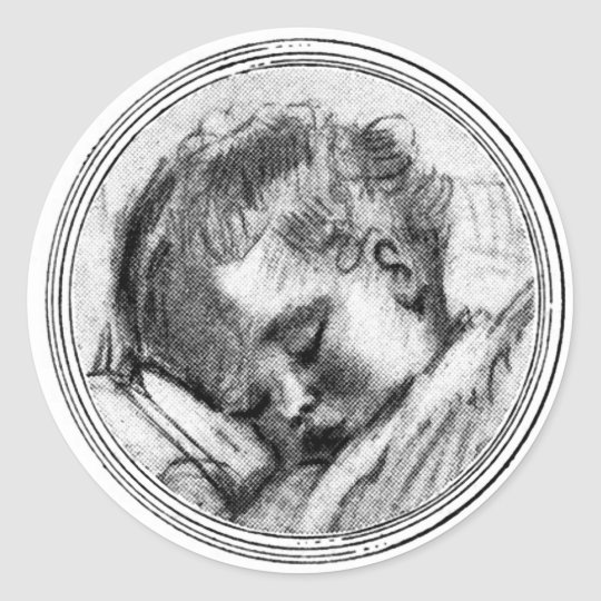 Sleeping Baby in Black & White - Sticker