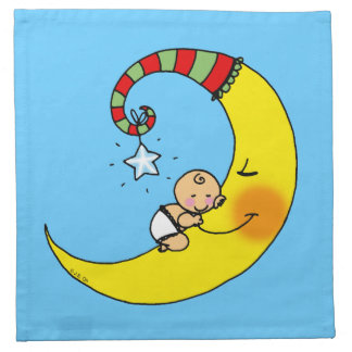 Sleeping baby on the moon napkin
