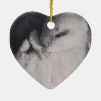 Sleeping baby rabbit photo design. ceramic heart decoration