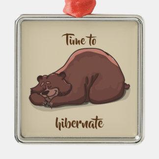 Sleeping Bear// Time To Hibernate Christmas Ornament