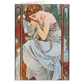 Sleeping Beautiful Woman Card