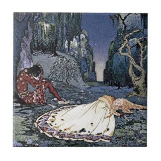 Sleeping Beauty Princess Vintage French Illustrati Small Square Tile