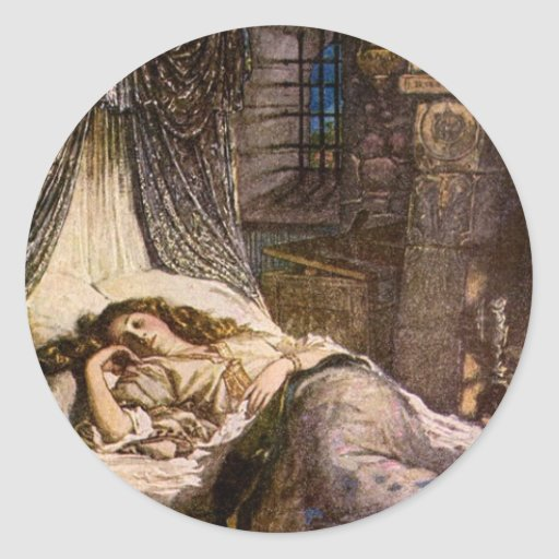 Sleeping Beauty Round Stickers