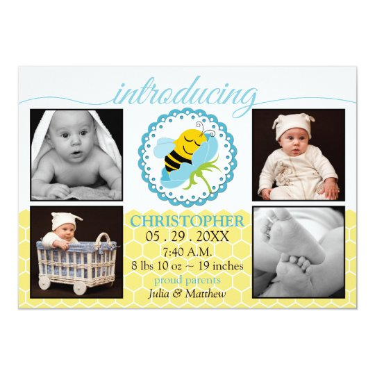 Sleeping Bee Baby Boy Photo Birth Announcement