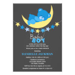 Sleeping Blue Boy Teddy Bear on Moon Baby Shower Personalized Announcements
