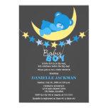 Sleeping Blue Boy Teddy Bear on Moon Baby Shower 13 Cm X 18 Cm Invitation Card