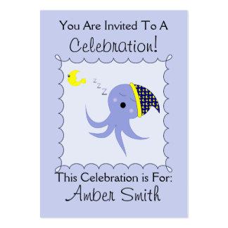 Sleeping Blue Octopus Business Card Templates