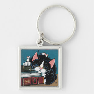 Sleeping Bookworm Tuxedo Cat and Mice Painting Silver-Colored Square Key Ring