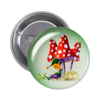 SLEEPING BUBBLE ELF & MUSHROOMS by SHARON SHARPE 6 Cm Round Badge