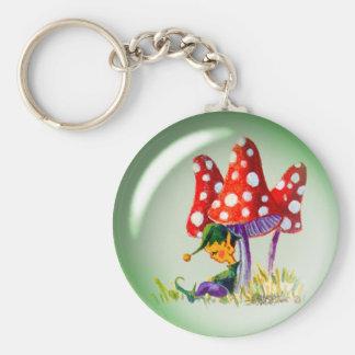 SLEEPING BUBBLE ELF & MUSHROOMS by SHARON SHARPE Basic Round Button Key Ring