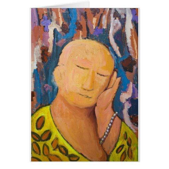 Sleeping Buddha (naive expressionism portrait) Card