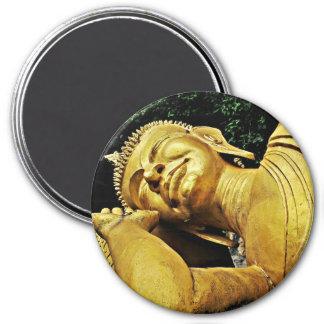 Sleeping Buddha Statue 7.5 Cm Round Magnet