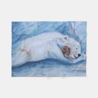 Sleeping Buddies Bear and mouse Fleece Blanket